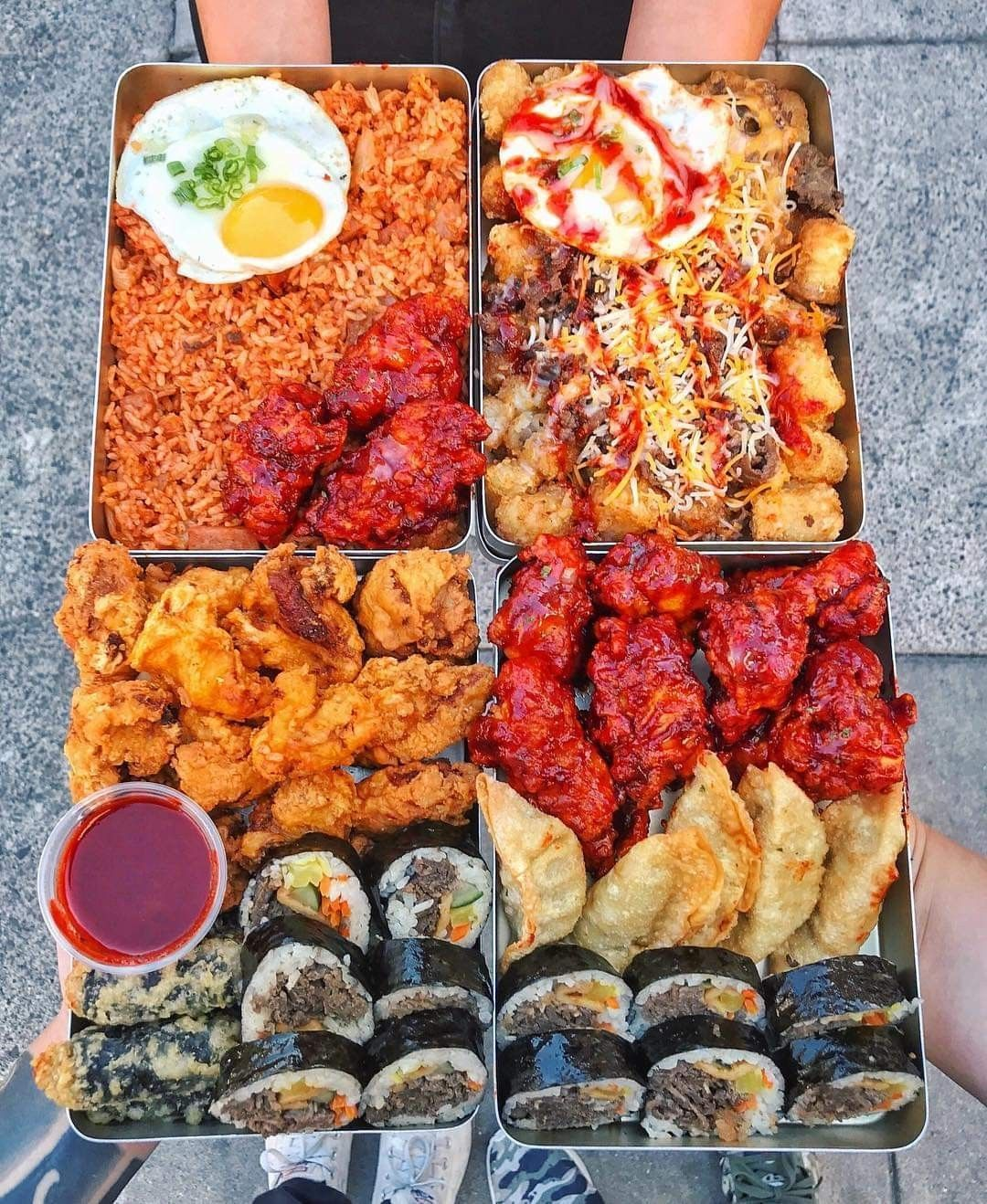 Ultimate Korean Lunch Box Follow Cookat For More Deliciousness Unhealthy Food Food Goals Street Food