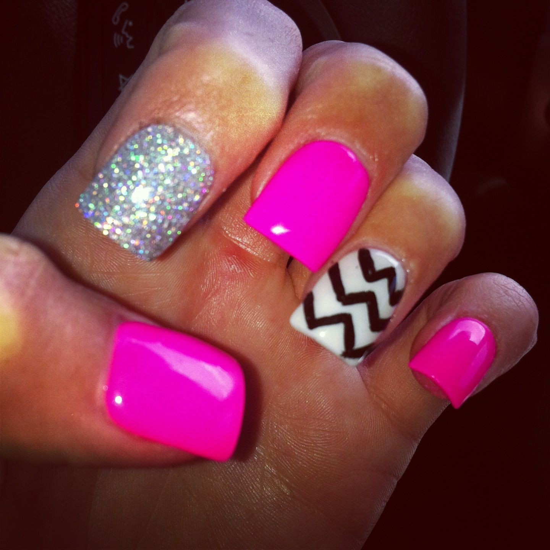Pink Glitter Nails Chevron Design