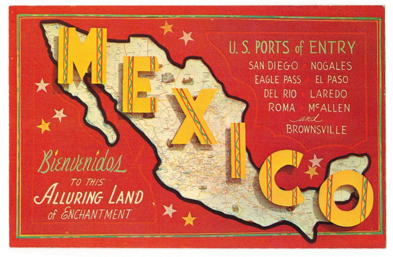 Mexico Vintage Postcard Greetings 1960s Travel Southwestern