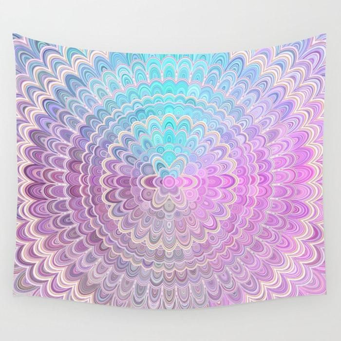 Cosy Bedroom  Mandala Flower in Pastel Pink and Light Blue Wall Tapestry by David Zydd #pastel #forher #pink #geometry #mandalas #walltapestry #walldecor #roomdecor #homedecorideas #home #walldecoration #home #boho #spiritual #Society6 #floral #colors #flowermandala #colormandala #design #gift #christmasgifts #CosyBedroom #ModernBedroom #IndustrialBedroom