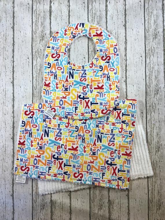 99d4fdf77b6a Unisex Baby Bib Set Alphabet Baby Shower Gifts Newborn Bibs Chenille Burp  Cloth Set Gender Neutral G