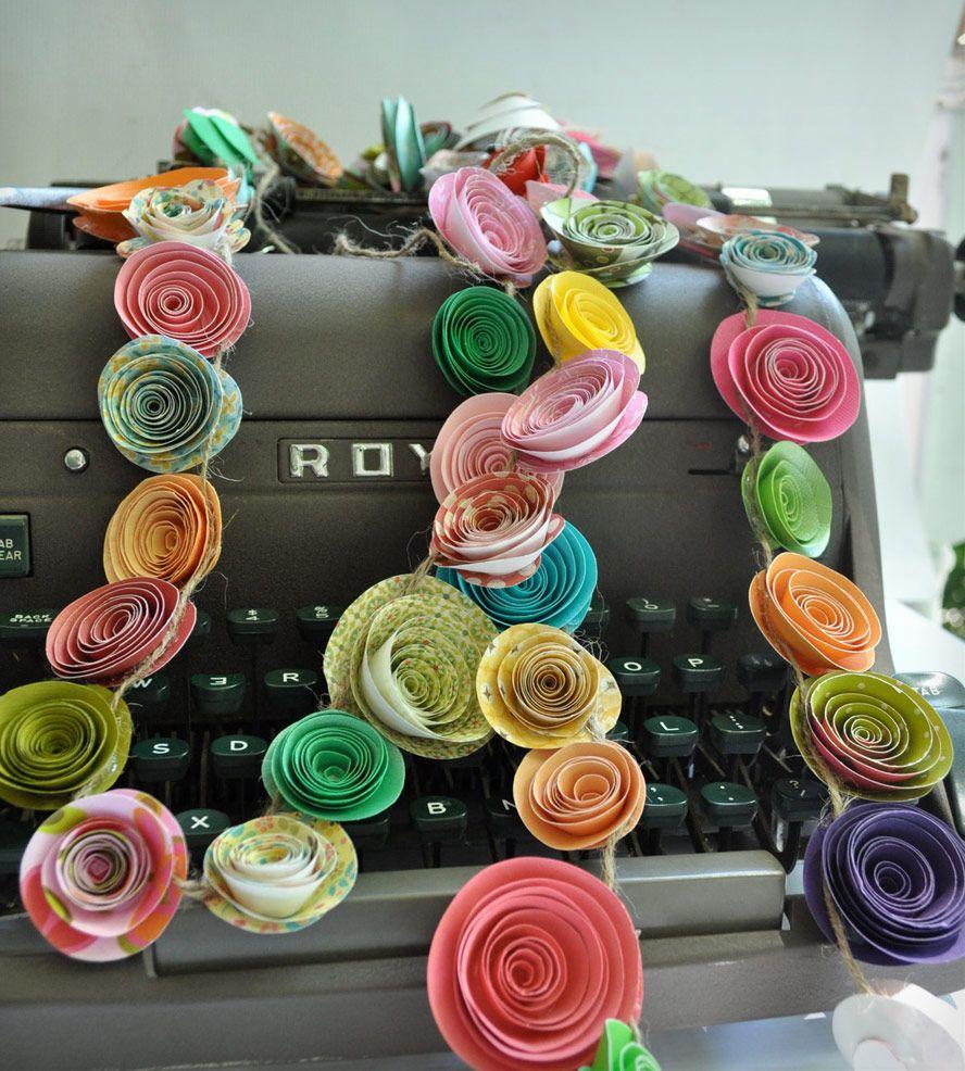 Colorful Paper Flower Garland  Set of   Paper flower garlands