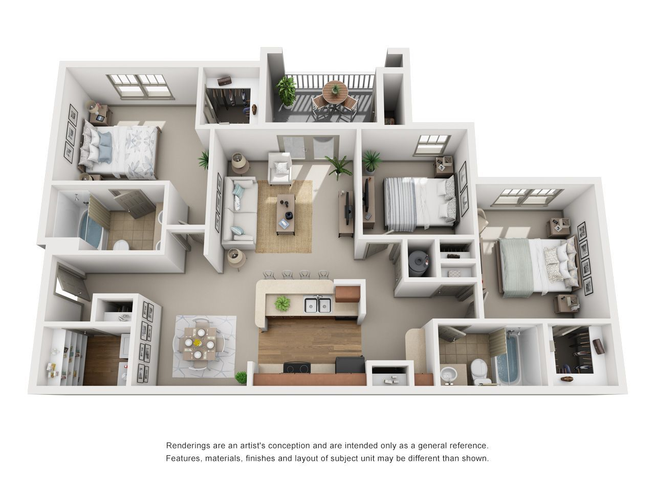 Three Bedroom 3 Bedroom Apartment Interior Design In 2021 Apartment Layout Apartment Floor Plans Sims House Plans