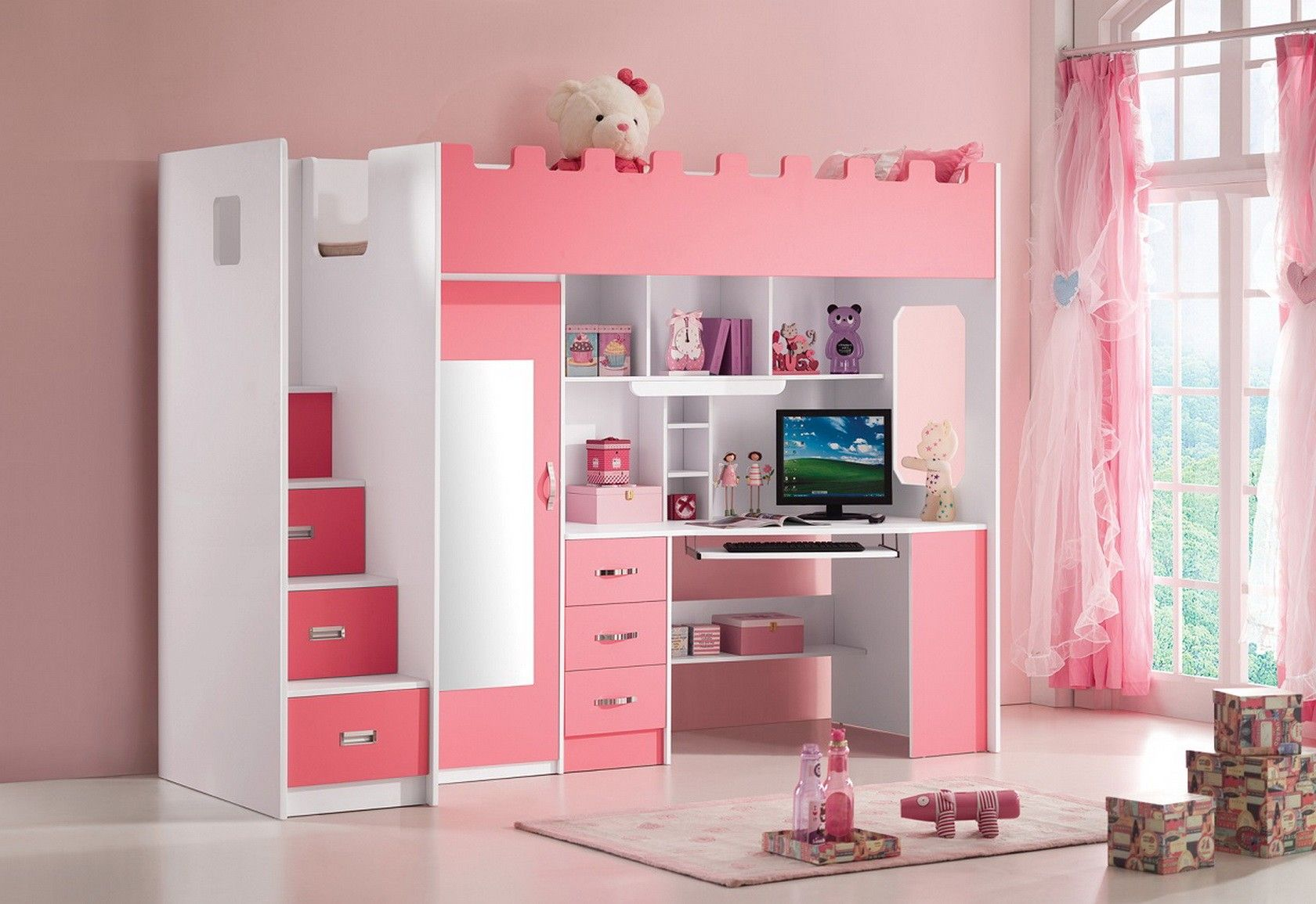 Lit Combine Mezzanine Coloris Rose Et Blanc Decoracion De