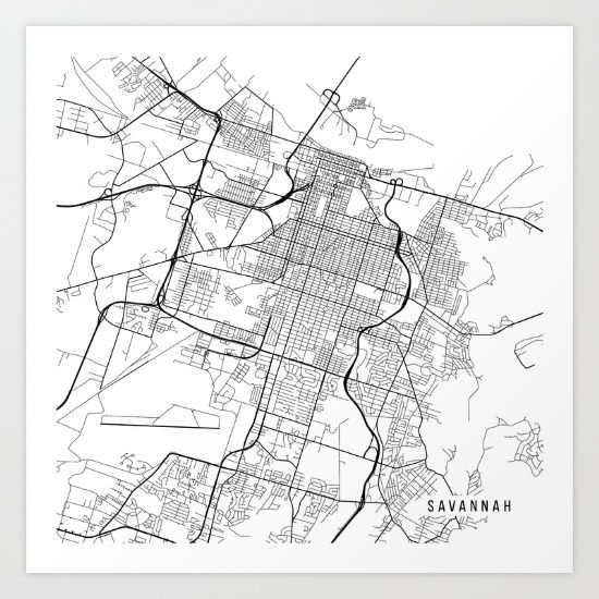Savannah Map USA Black And White Art Print Savannah Map - Black and white usa map