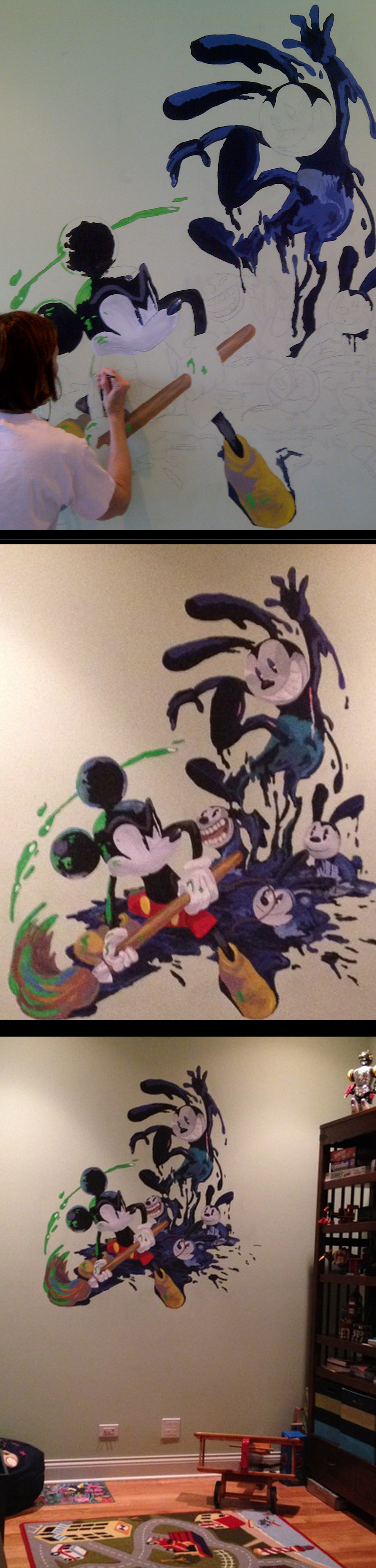 Mural for a boy's bedroom: Epic Mickey (disney mickey mouse) and Oswald. Fan art found on the internet, printed onto a transparency, projected onto the wall, traced, and painted.