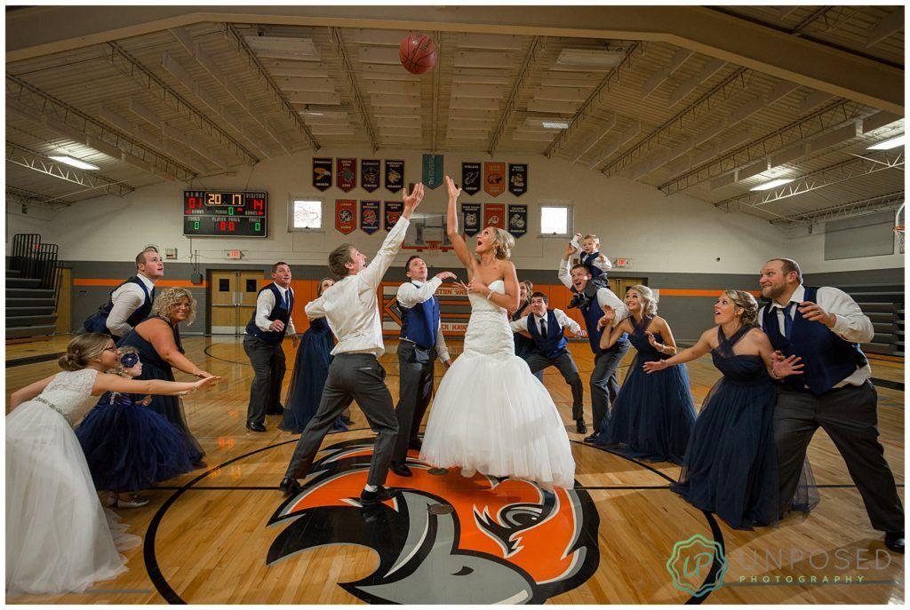 Basketball Wedding Pictures On Basketball Court Bride And Groom On Basketball Court Bride A Basketball Wedding Wedding Photography Bride Wedding Photography