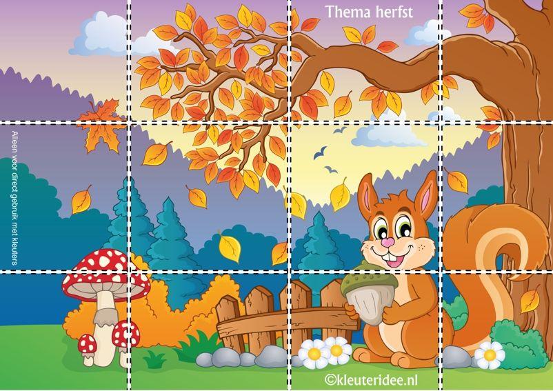 Puzzel voor kleuters, thema herfst, juf Petra van kleuteridee, Autumn preschool puzzle, free printable.