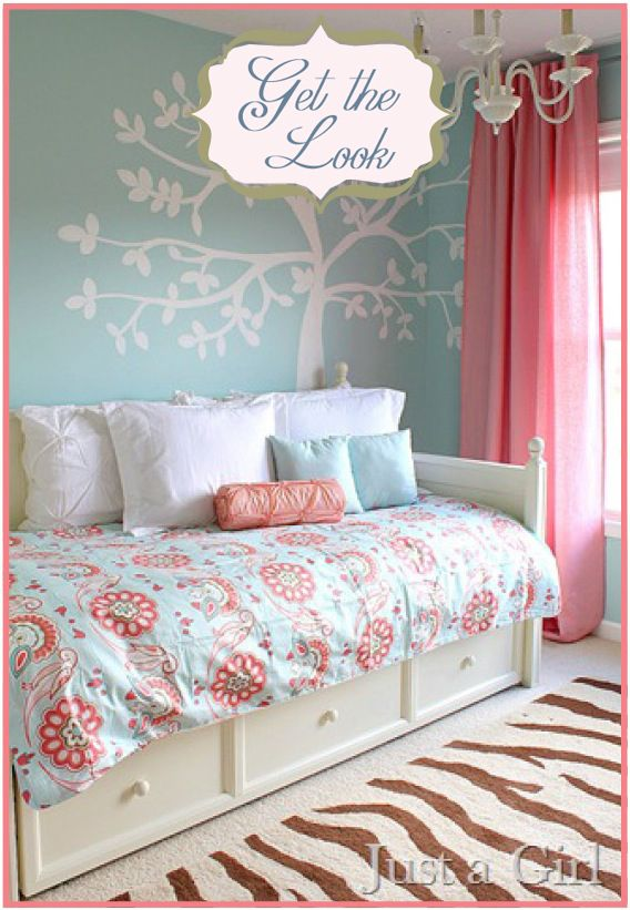 Girls Bedroom Pink Robin S Egg Blue And Mixed Prints Girly