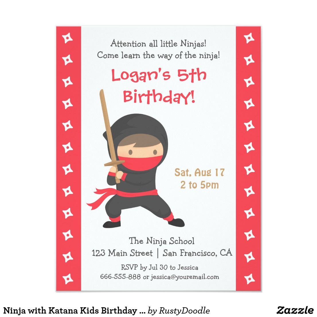 Ninja with Katana Kids Birthday Party Invitations | Kid\'s Birthdays ...