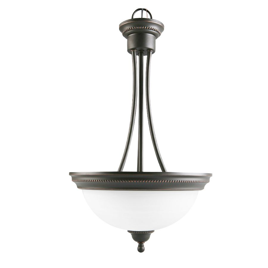 Portfolio Kingsmere 14 25 In Oil Rubbed Bronze Craftsman Single Alabaster Glass Bowl Pendant