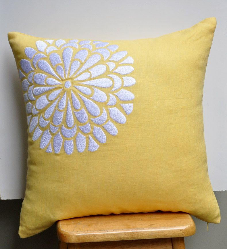 Yellow Linen Throw Pillow : Yellow White Decorative Pillow Cover, White Flock Flower on Yellow Linen Pillow, Accent Pillow ...