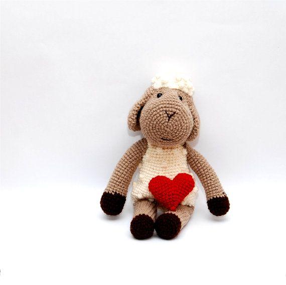white stuffed sheep amigurumi sheep crochet farm by crochAndi, $38.00