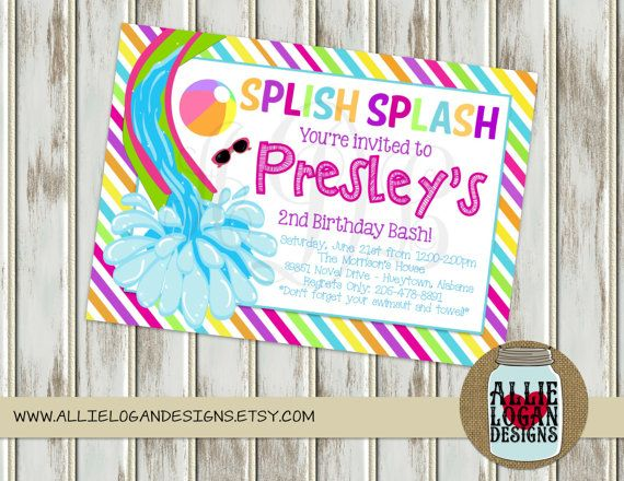 Girlu0027s Pool Party or Water Slide Invitations by AllieLoganDesigns - birthday invitation pool party