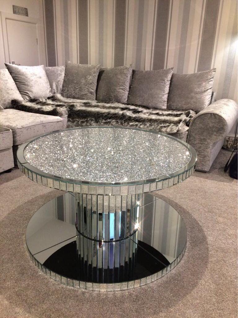 Diamond Crush Circular Mirrored Coffee Table Mirrored Furniture