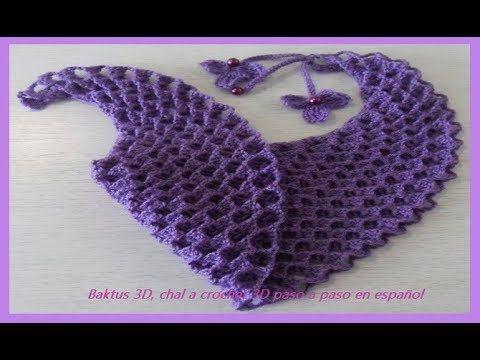 Chal Baktus 3D, chal a crochet 3D Ch №60 - YouTube | шали,бактусы ...