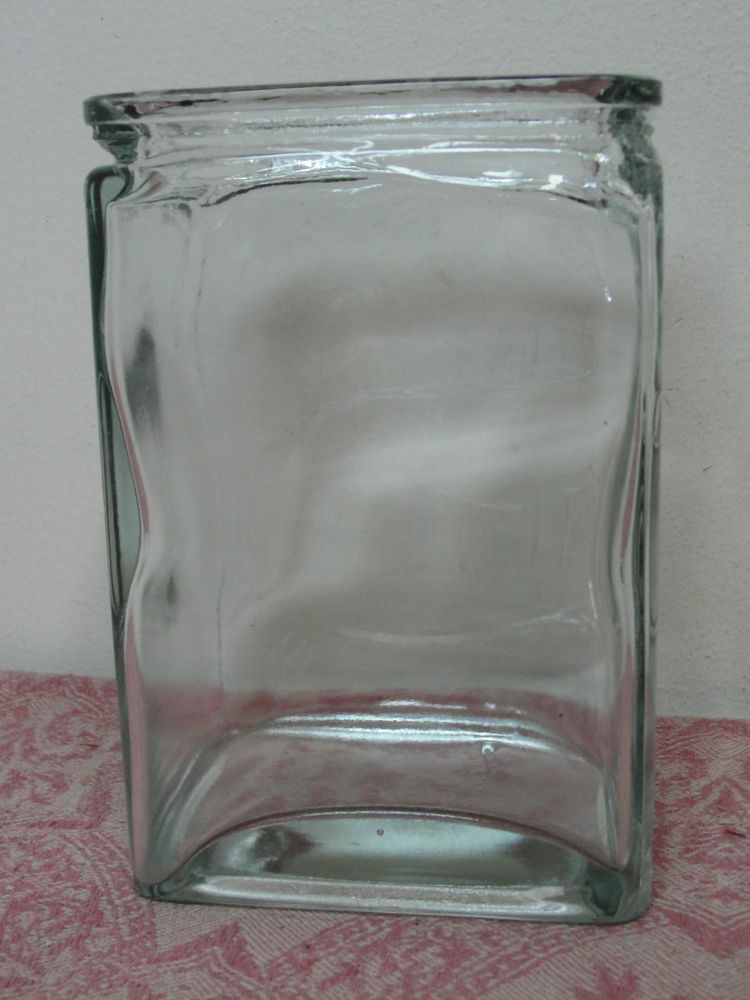 """Vintage Unmarked Small Clear Glass Battery Jar Bottle 6"""" x 4"""" x 3"""""""