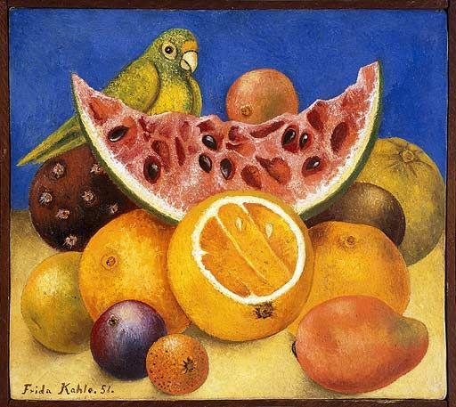 Frida Kalho. Naturaleza muerta con loro y frutas (1951)