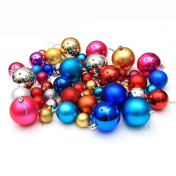 100 Stück silber Weihnachtskugeln bruchsicher Christbaumkugeln Baumschmuck