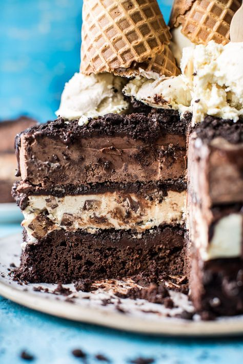 Triple Layer Chocolate Fudge Ice Cream Cake. - Half Baked Harvest