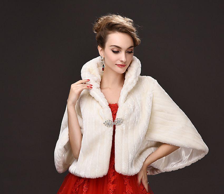 faux fur shawl wedding cheap