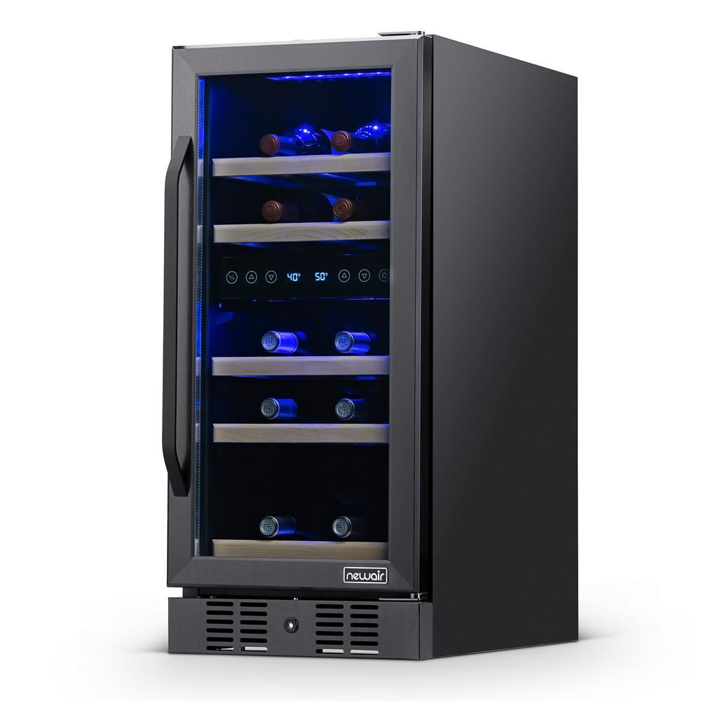 Newair Dual Zone 15 In 29 Bottle Built In Wine Cooler Fridge With Quiet Operation Beech Wood Shelves Black Stainless Steel Nwc029bs00 The Home Depot In 2020 Built In Wine Cooler