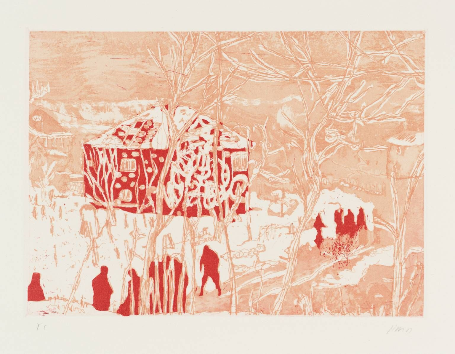 Artist Peter Doig Born 1959 Title Red House From Ten Etchings Date Andrew Smith Denim Merah 33 1996 Medium Etching And Aquatint On Paper Dimensions Image 150 X 205 Mm Collection