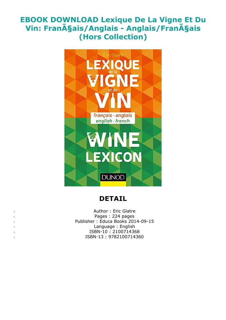 Pdf Download Lexique De La Vigne Et Du Vin Frana Ais Anglais Anglais Frana Ais Hors Collection Ebook Pdf Download Reading Online Reading Books To Read