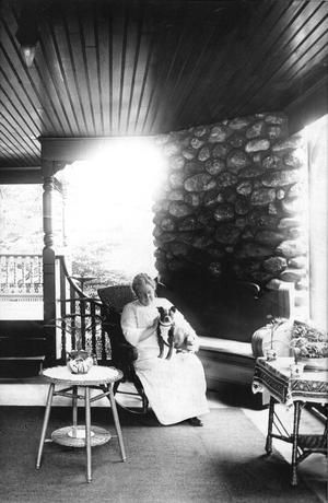 Lizzie A  Borden on the piazza of her Fall River residence