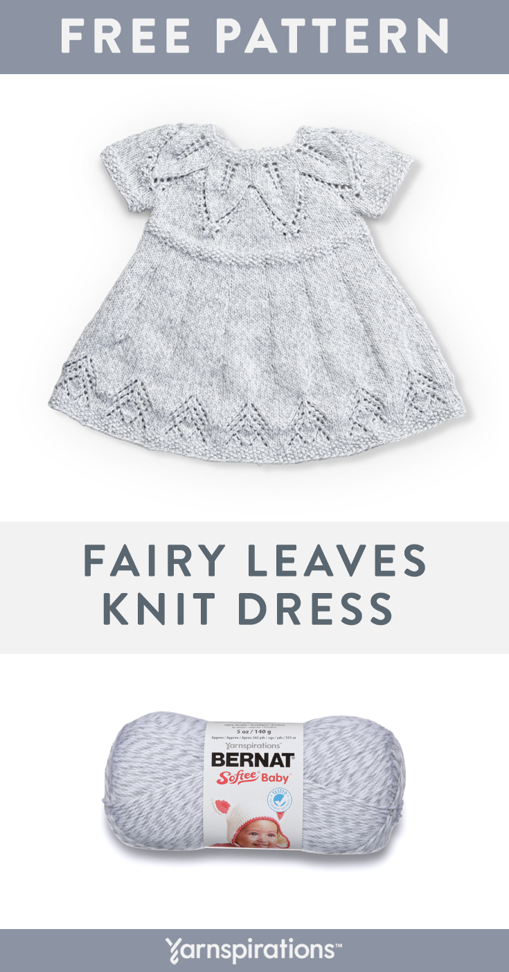 Bernat Softee Baby Yarn Pattern | This soft, easy-care premium 100% acrylic baby yarn in light worsted weight is a favorite for baby projects, such as the Fairy Leaves Knit Dress! #Yarnspirations #Bernat #BernatSofteeBaby #FreeKnittingPattern #KnitBabyDress