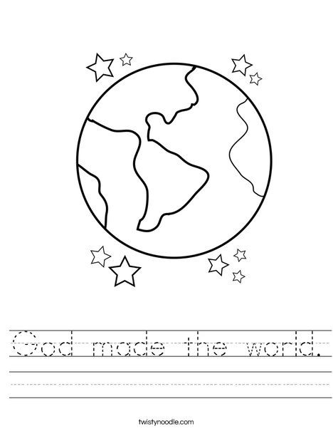 Earth with Stars Worksheet | Pre k | Pinterest