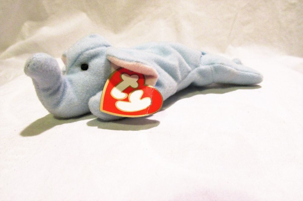 Peanut Brand New In Plastic Ty Teenie Beanie Baby the Royal Blue Elephant