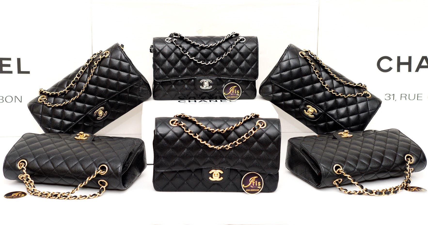 10″ Chanel Caviar amp; Black In 12″ กระเป๋าชาแนล หนังสวย ทรง Classic