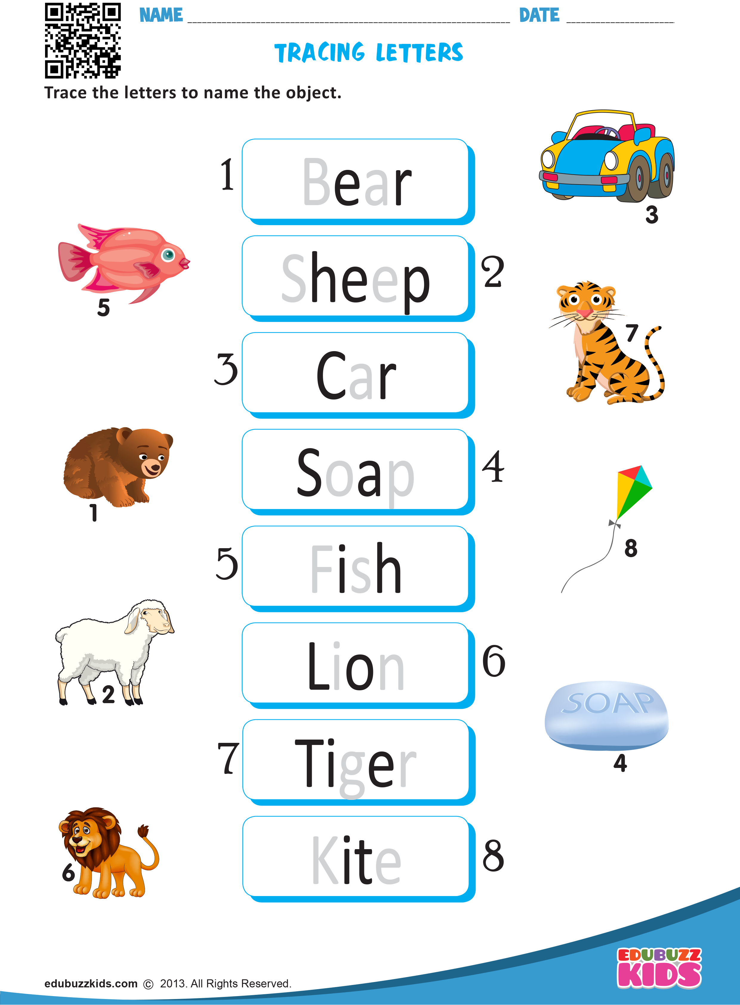 Printable Write Words Worksheets For Kindergarten Kids