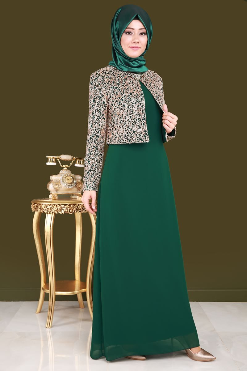 Ceketi Pul Payet 2 Li Sifon Abiye Zumrut Urun Kodu Cng2943 S 134 90 Tl Afrika Elbise Payet Islami Giyim