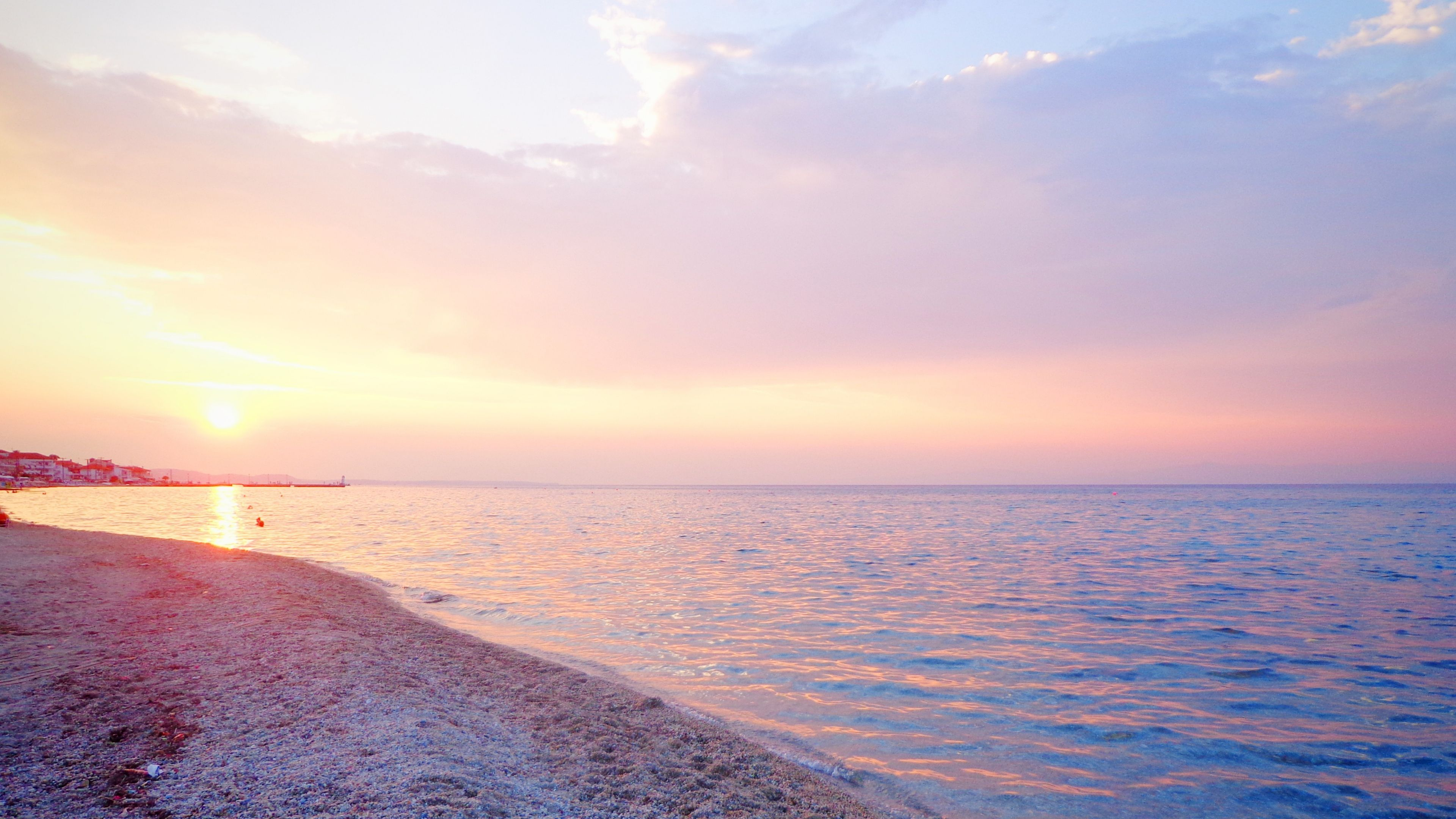Greece Sea Beach Sunset 4k Hd Wallpapers Pink Ocean Wallpaper Beach Wallpaper Greece Wallpaper
