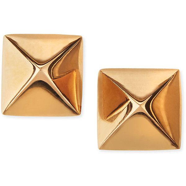 Anita Ko 18k Rose Gold Pyramid Stud Earrings (€335) ❤ liked on Polyvore