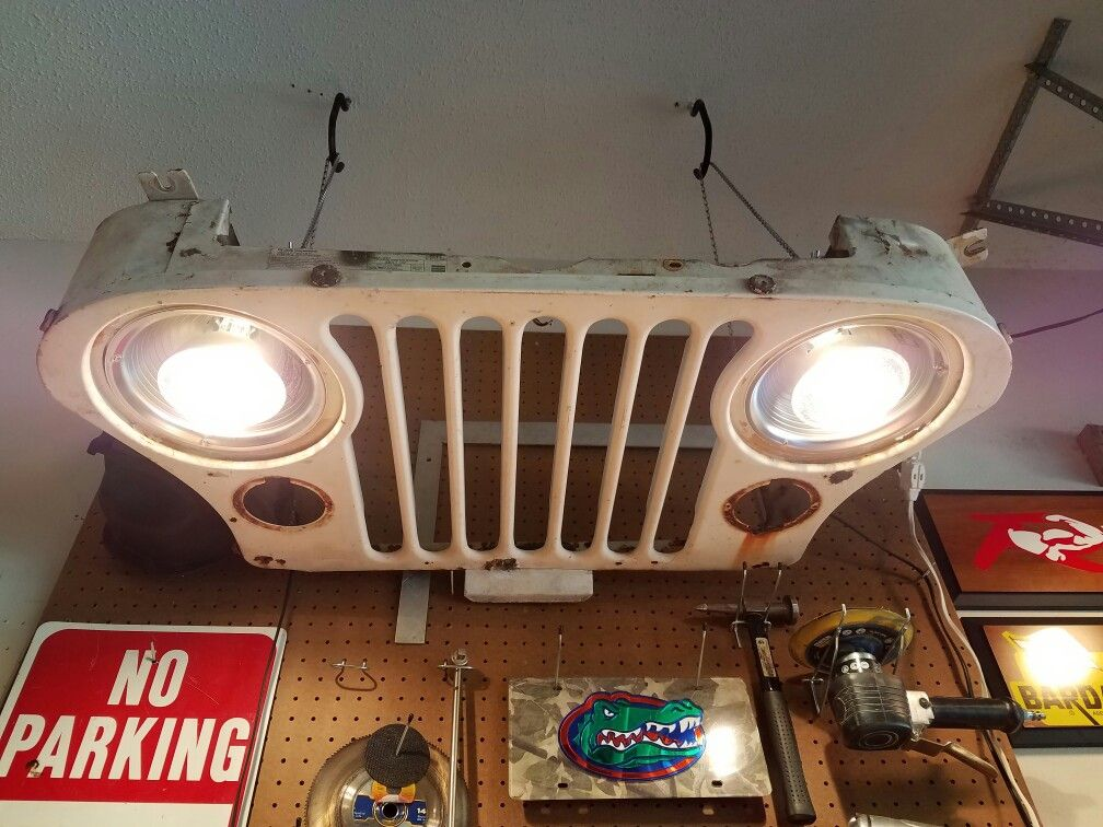 Workbench Light: Jeep CJ grille my son bought for $2. Two ...