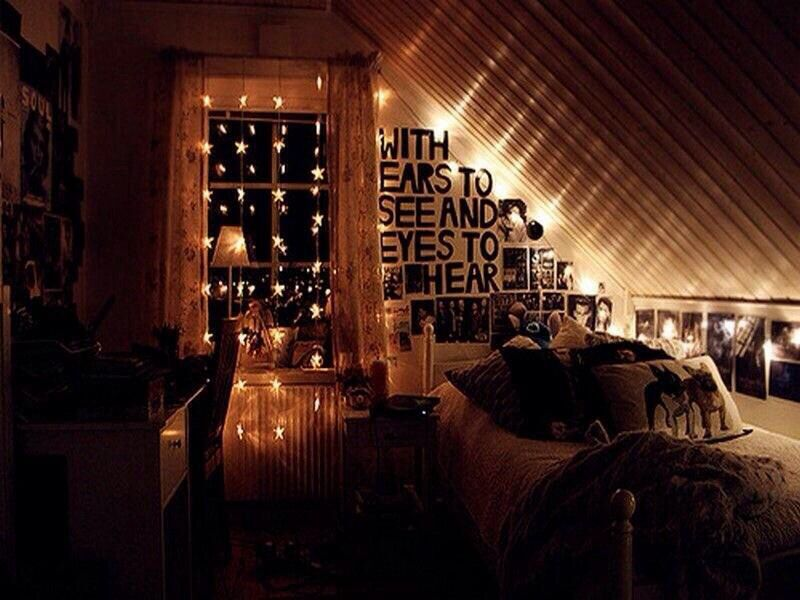 Perfect For An Attic Room Or If There S A Slanted Ceiling Love This Teenage Girl Bedroom Decor Fairy Lights Bedroom Dream Rooms