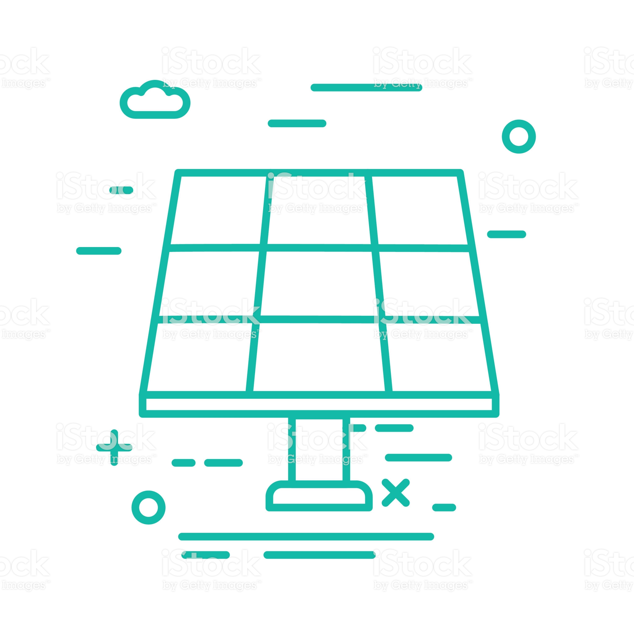 Solar Panel Environment Icon In Thin Line Flat Design Style Alternative Energy Projects Energy Logo Energy Projects