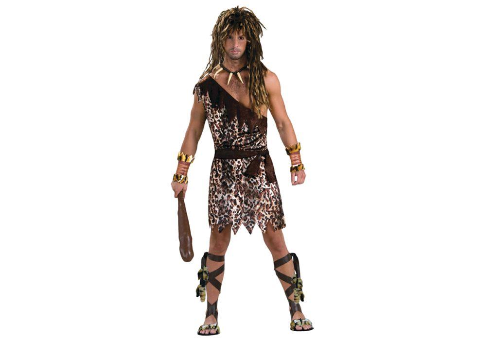 Caveman Costume Mens Tunic Adult Jungle Tarzan Prehistoric Fancy Dress Outfit
