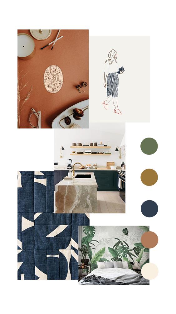 Masculine feminine branding color palette inspiration, indigo blue persimmon olive green neutral | Flourish Collaborative #colorpalettecopies