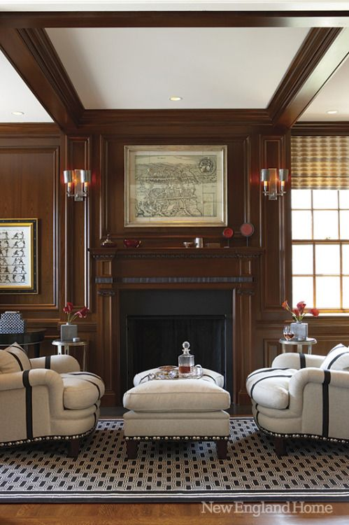Wood Paneled Library: Designer Maribeth Brostowski In New England Home.