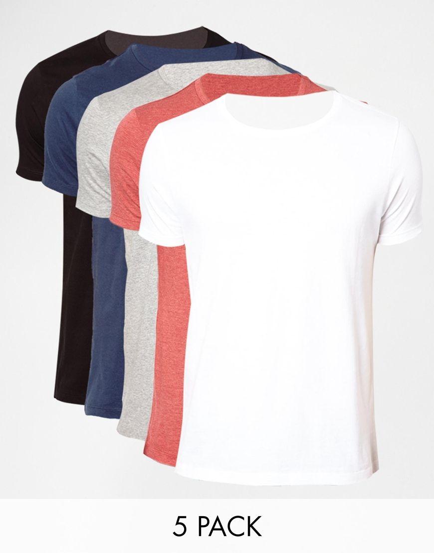 T-Shirt Packung von ASOS aus weiches Jerseymaterial Rundhalsausschnitt einfarbiges Design normale Passform Fünferset Stöbern Sie nach Basic-T-Shirts mit Rundhalsausschnitt von ASOS in anderen Farben.
