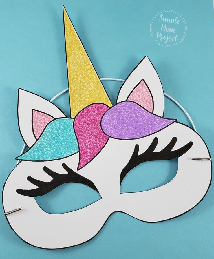 Unicorn Face Masks with FREE Printable Templates - Simple ...
