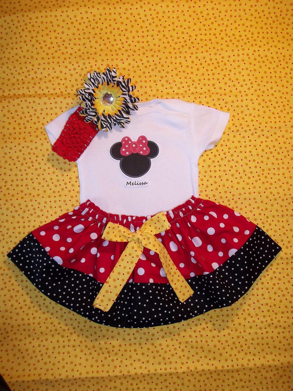 Yellow dress 3-6 months  Disney dress Minnie Mouse st Birthday personalized onesie Newborn