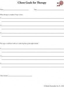 Goals Worksheets | Therapist Aid