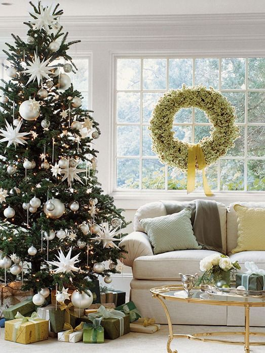 silver and white tree bhg | Holiday Decor | Pinterest