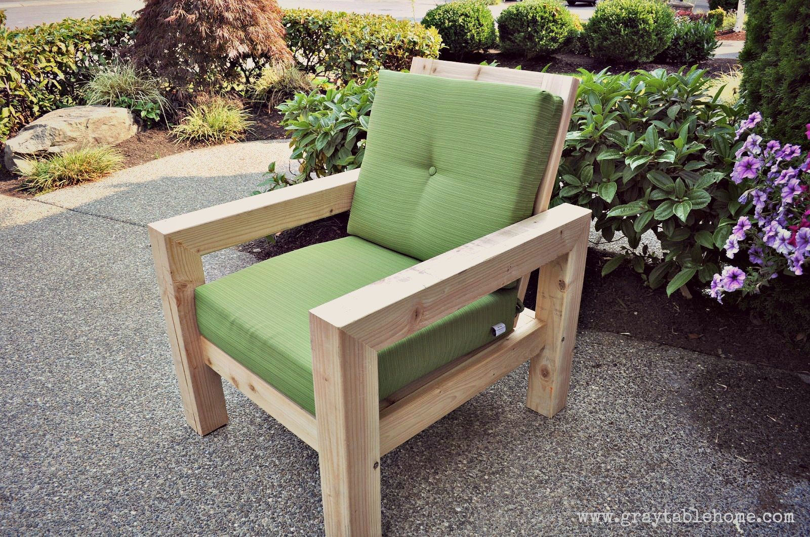 diy modern rustic outdoor chair plans using outdoor cushions from