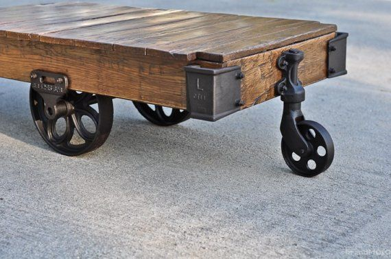 Vintage Industrial Factory Cart Coffee Table